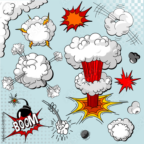 Comic book explosion elements
