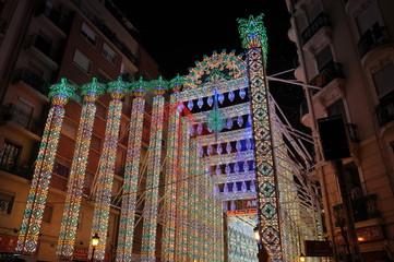 Calle iluminada, fallas 20011, Valencia, España
