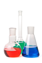 Laboratory glassware on a white background