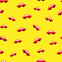 Red car yellow background seamless pattern