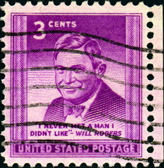 Will Rogers. 1879-1935. Timbre postal. United States postage.