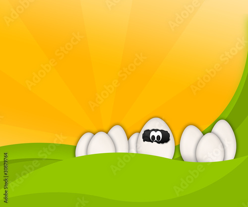 Illustration: Cartoon Easter funny Eggs on abstract background