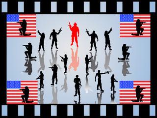 Soldaten mit amerikanischer Flagge