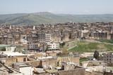 Stadtpanorama von Fes in Marokko poster