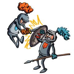 Two cartoon knights fighting