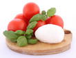Caprese salad ingredients- tomatoes, mozzarella and basil