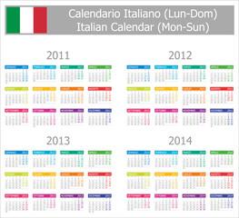 2011-2014 Type-1 Italian Calendar Mon-Sun