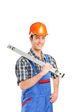 Adult constructor worker holding construction bubble level poster
