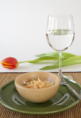 Coleslaw Salad with Water Glass and Tulip