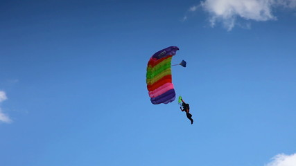 Fying on a parachute and alight on ground
