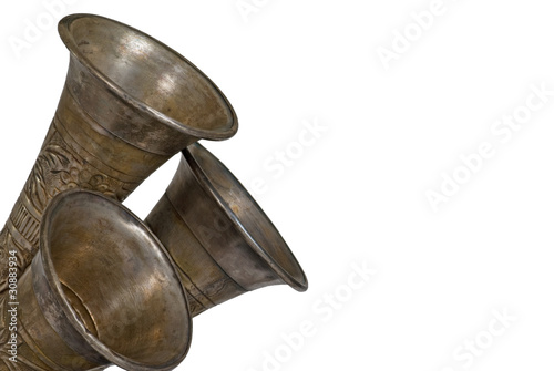 Closeup of metal horns tilted upwards isolated announcement