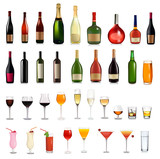 Fototapety Set of different drinks and cocktails. Vector illustration.