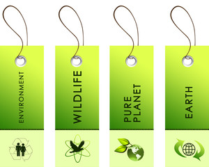 Light green tags with inscriptions