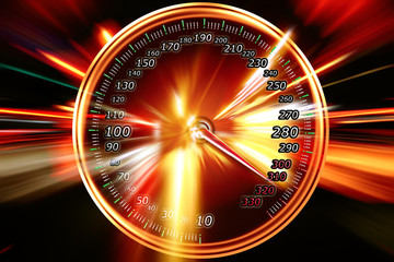 image of the speedometer on the background of night road