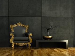3d Rendering goldener Barocksessel vor Betonwand