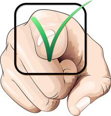 Mano per Votare-Voto-Hand Pointing a Tick-To Vote-Vector
