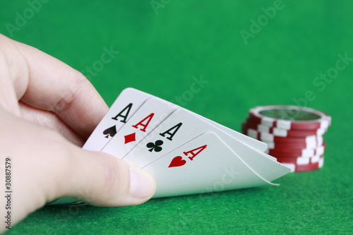 Poker - Chips Spielkarten Ass 14