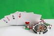 Poker - Chips Spielkarten Ass 38