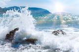 Sea surf wave and sun