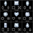 Set of variously shaped realistic diamonds - 30889153