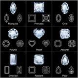 Set of variously shaped realistic diamonds