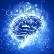 brain, chemical formulas &  lights - blue technology concept