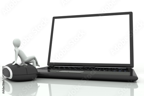 3d human sitting on a laptop