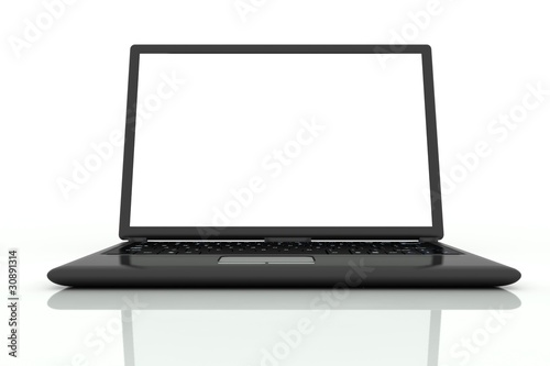 Isolated black laptop in front view