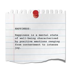Recorte de papel texto HAPPINESS