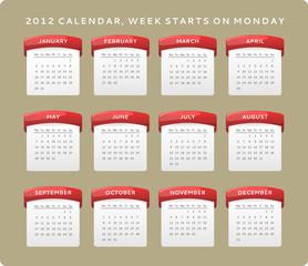 2012 calendar, week starts on Monday