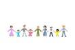 Menschenkette Familien Freisteller