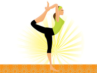 vector sporty girl practicing natarajasana lord of the dance pos
