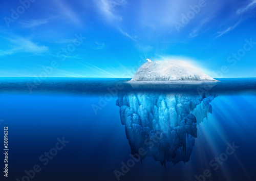 Natural Iceberg with Polar Bear - 30896312