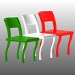 Постер, плакат: Sedie italiane tricolore Italian chairs
