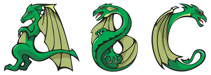 Series of dragons alphabet, letters ABC, fantasy font, vector