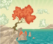 Romantic landscape. Vector illustration,isolated objects.