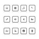 gray icons audio square