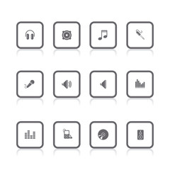 gray icons audio square