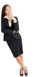 Business woman thinking leaning