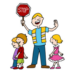 Crossing Guard and Children Walking