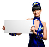 Beautiful stewardess holding empty white board