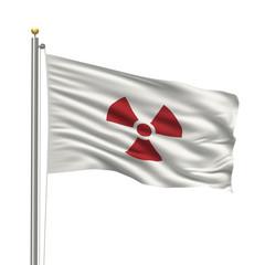 Japanese radioactivity flag over white background