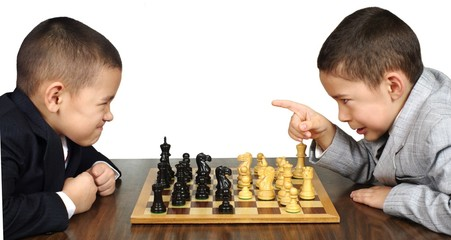 kid upset over chess game, on white background