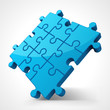 Blue puzzle 3d pie vector illustration