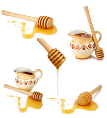 honey flowing down from a wooden stick