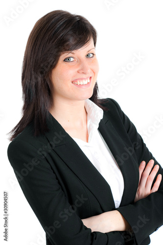 Smiling businesswoman portrait isolated on white
