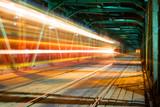 Train speeding on the bridge in Warsaw