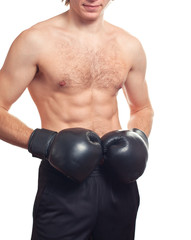 Man boxer with black boxing gloves