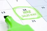 Hire sales man mark poster