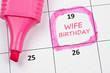 Wife birthday mark